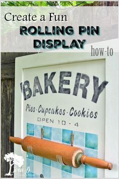 Here's a fun way to display your vintage rolling pins! Create a fun DIY Stenciled Rolling Pin Display with this how-to. Old Sign stencils and fork holders provide a vintage, classic vibe. Cute for personal use or as a vintage dealer's bakeware display. Sign Stencils, Stencil Diy, Rolling Pin Display, Gingham Tablecloth, Bakery Sign, Vintage Baking, Old Signs, Funky Junk, Rolling Pins