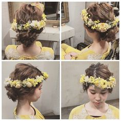 * * ウェディングヘア♡ * @mille_la_chouette  の花かんむり * まるで生花のように みえます♡ 花嫁さまにオススメ♡ #ヘアアレンジ #fashion #ウェディング #wedding #ネイル
