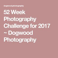 52 Week Photography Challenge for 2017 ~ Dogwood Photography