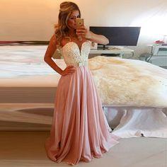 2015 Sexy Pearls Blush Pink Prom Dresses