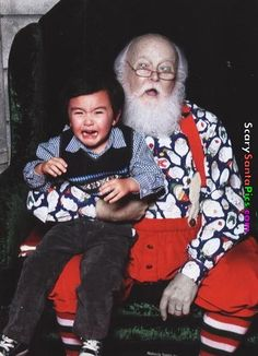 Zombie Santa.  Why are we surprised that this poor little boy is crying?  I'd be crying if I was sitting there at age 25.   #uglychristmassweater #tacky #fun #christmas