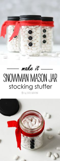 Mini mason jar stocking stuffer ideas - Mason Jar Snowman. Mini mason jar snowmen. Mason Jar Christmas Craft Ideas.