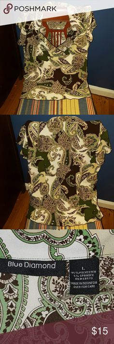 Classic Dress Blouse Short sleeve button up collared dress top with classic Paisley print in Olive, Brown, Banana, Forrest,  and Taupe.  Light weight poly spandex blend.  Very Good condition. Blue Diamond  Tops Blouses
