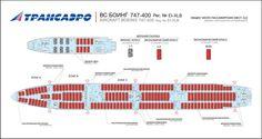TRANSAERO (RUSSIAN) BOEING 747-400 AIRCRAFT SEATING CHART