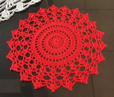 Items similar to Red Lace Crochet Doily Small Crochet Doily Red Doily Crochet Lace Doily Round Crochet Doily Mother's Day Valentine's Day Birthday on Etsy Free Crochet Doily Patterns, Crochet Coaster Pattern, Crochet Placemats, Crochet Dishcloths, Crochet Designs, Smocking Patterns, Col Crochet, Crochet Lace Edging, Crochet Mandala