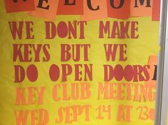Key Club meeting after school tomorrow Wednesday September 14th in the lecture hall for about 30-45 minutes. Anyone is welcome to attend.