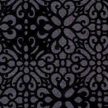 Gray Canvas with Black Cut Floral Velvet