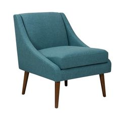 Benzara Fabric Upholstered Wooden Accent Chair with Tapered Legs at Lowe's. Offering timeless style and ultimate comfort, this accent chair showcases a mid-century modern inspired design that is perfect for your den, living room, Brown Accent Chair, Accent Chairs, Living Room Seating, Living Room Chairs, Dining Chairs, Cool Chairs, Side Chairs, Chair Types, Upholstered Chairs