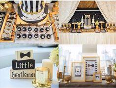 Gold and black Little Gentleman baby shower