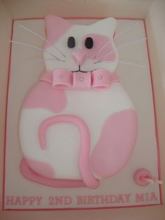Cat Cake- for Goldie my crazy cat lady Birthday Cake Girls, Cat Birthday, Birthday Cakes, Birthday Ideas, Pretty Cakes, Cute Cakes, Fete Emma, Cupcakes Decorados, Animal Cakes