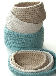 Crochet storage bins, with or without lids