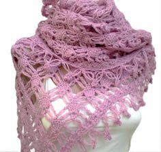 Crochet Hand Crocheted Shawl Pink by crochetbutterfly on Etsy, $50.00