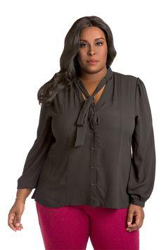 Plus Size Womens Neck Tie Blouse Black