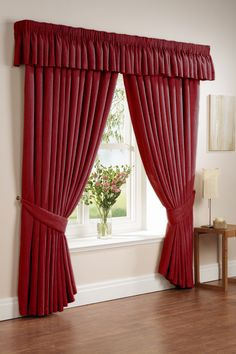Gorgeous Curtains with Large Design Idea for Our Space: Astonishing Red Classic Accents Curtains With Large Design Windows ~ mybutteryfly.com Idea Inspiration