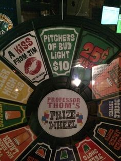 Cheap pitchers of Bud Light so come in quick to collect! Another goal & we SPIN THAT WHEEL! Buy this Prize Wheel at http://PrizeWheel.com/products/floor-prize-wheels/.
