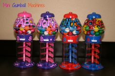Personalized gumball machines. Perfect for party favors.