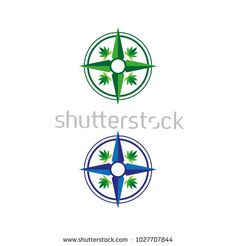 A set of cannabis compass icons