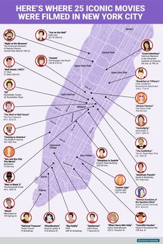 This map shows where 25 iconic movies were filmed in New York City.