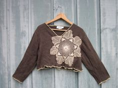 Vintage+Doily+Cropped+Merino+Wool+Sweater+//+by+emmevielle+on+Etsy,+$53.00
