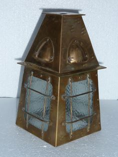 ARTS & CRAFTS HAMMERED BRASS AND GLASS PORCH LANTERN in Antiques, Periods/Styles, Arts & Crafts Movement | eBay!