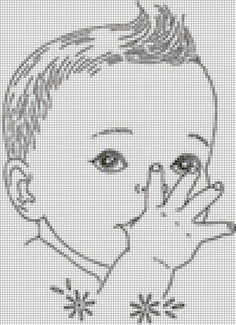 Monochrome baby X-stitch Baby Cross Stitch Patterns, Cross Stitch For Kids, Cross Stitch Baby, Cross Stitch Charts, Cross Stitch Designs, Cross Stitching, Cross Stitch Embroidery, Embroidery Patterns, Crochet Patterns