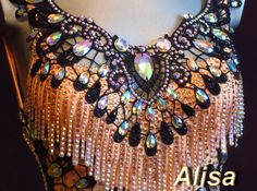 lace bib used as base for bling. Tribal Fusion, Belly Dance Jewelry, Dance Makeup, Latin Ballroom Dresses, Fairy Clothes, Salsa Dancing, Beautiful Costumes, Learn To Dance, Belly Dance Costumes