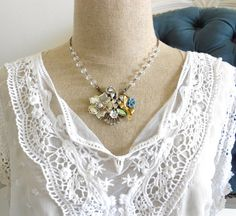 Vintage Heirloom Collage Necklace - Eco Friendly by LisamariesPiece