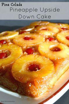 Pina Colada Pineapple Upside Down Cake | Real Housemoms | #summer #dessert