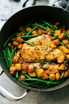 Skillet Chicken and Butternut Squash - minus butter and dairy