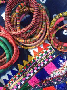 Vintage Vinyl Record Beads + African Indigo // Crafty Global Goods from WomanShopsWorld // Gypsy, Boho Style