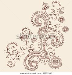 Hand-Drawn Henna Mehndi Paisley Doodle Flowers and Vines- Vector Illustration Design Elements by blue67design, via Shutterstock
