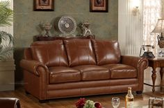 Caesar Palace American Style Leather 3-seater Sofa - MelodyHome.com