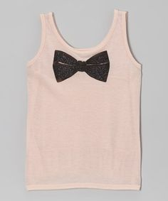 Take a look at this Blush Glitter Bowtie Tank - Girls by Modern Lux on #zulily today!