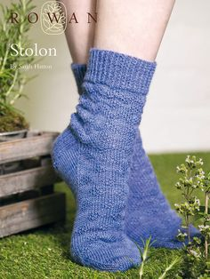 Knit these textured socks, available as a free pattern. Designed by Sarah Hatton in the Fine Art sock yarn they feature all over chevron and diamond textured patterning.