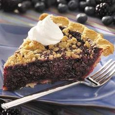 Black 'n' Blue Berry Crumb Pie Recipe -Here's a very simple recipe for a mouthwatering, fresh pie that features two kinds of berries and is simply delicious! The brown-sugar crumb topping adds buttery old-time crunchiness and flavor to this summery dessert classic. Thanks to Linda Palmer in Greenville, Ohio for the recipe.
