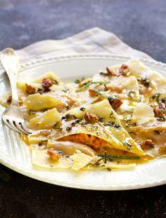 Pumpkin Ravioli with Sage Brown Butter Parmesan and Pecans