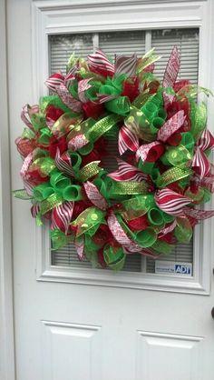 Deco Mesh Christmas Wreath by BCsCraftyCreations on Etsy, $70.00