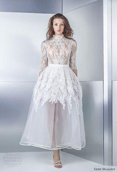 gemy maalouf 2017 bridal half sleeves high neck heavily embellished bodice romantic tea length short wedding dress cover lace back (4793b 4793ls) mv