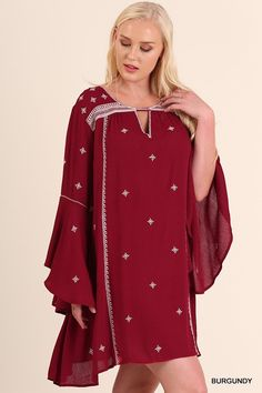 Day Dream Delight Boho Dress Keyhole Neck & Embroidery Detail Red Burgundy Plus Size XL 1XL 2XL