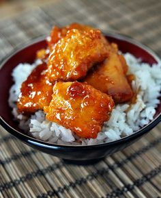 Firecracker Chicken -- cubed chicken breasts baked in a spicy, sweet sauce to serve over rice.