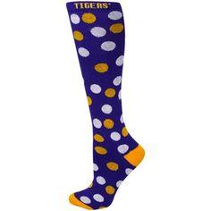LSU Tigers Ladies Purple Polka Dot Knee Socks