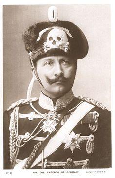 Kaiser Wilhelm II, von Preussen, the first born son of English Queen Victoria & Prince Albert, 19th century, The German Emperor with Skull & cross bones cap.