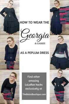 How to wear the new lularoe ruffle georgia dress with a llr cassie pencil skirt as a peplum dress top. Amazing outfit hack must try for capsule wardrobe. Work attire night out fashioable Lularoe Georgia, Llr Cassie, 2020 Fashion Trends, Work Looks, Lula Roe Outfits, Dresses With Leggings, Work Attire, Capsule Wardrobe, Everyday Fashion