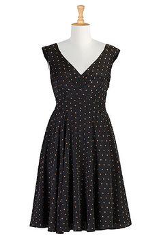 eShakti Vintage style dot print dress