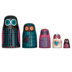 Twitwooshkas / Owl Matrioshka by Niki Jones £100.00 (I think I need an owl board ...)