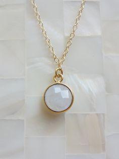 Step-Cut Faceted Moonstone Vermeil Bezel Pendant on Gold Chain Necklace. $35.00, via Etsy.