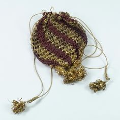Antique 18th Century Purse Netted Silk Goldwork English Circa 1770