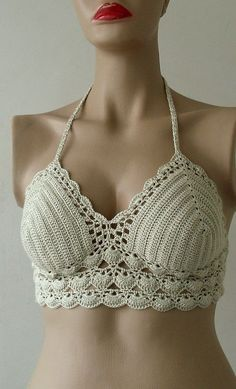 Crochet Beige  Bikini-Bustier  Women Bikini Top, Swimwear  Beach Wear  2015 Summer Trends !!! FORMALHOUSE