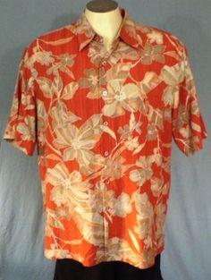 Tori Richard Salmon Large Hawaiian Shirt Floral Print Silk #ToriRichard #Hawaiian