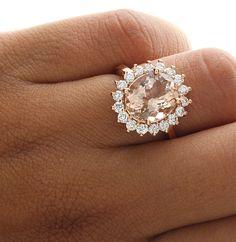 Huge Morganite Ring, Halo Morganite Ring, Morganite Engagement Ring, Unique Morganite Ring, 3 Carat Morganite Ring, Oval Morganite by cldiamonds on Etsy https://www.etsy.com/listing/466519314/huge-morganite-ring-halo-morganite-ring